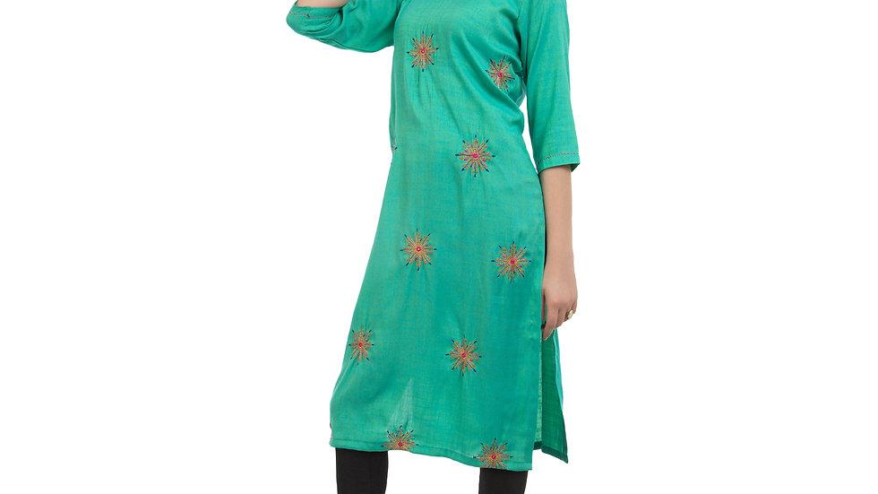 UNFAKENOW  Women Embroidered Cotton Blend Straight Green Kurta