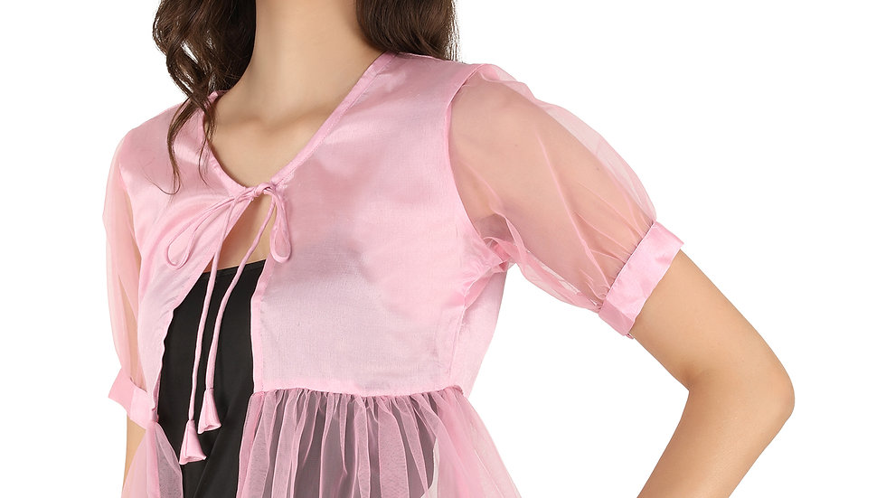 UNFAKENOW  Women Short Sleeve Pink Shrug