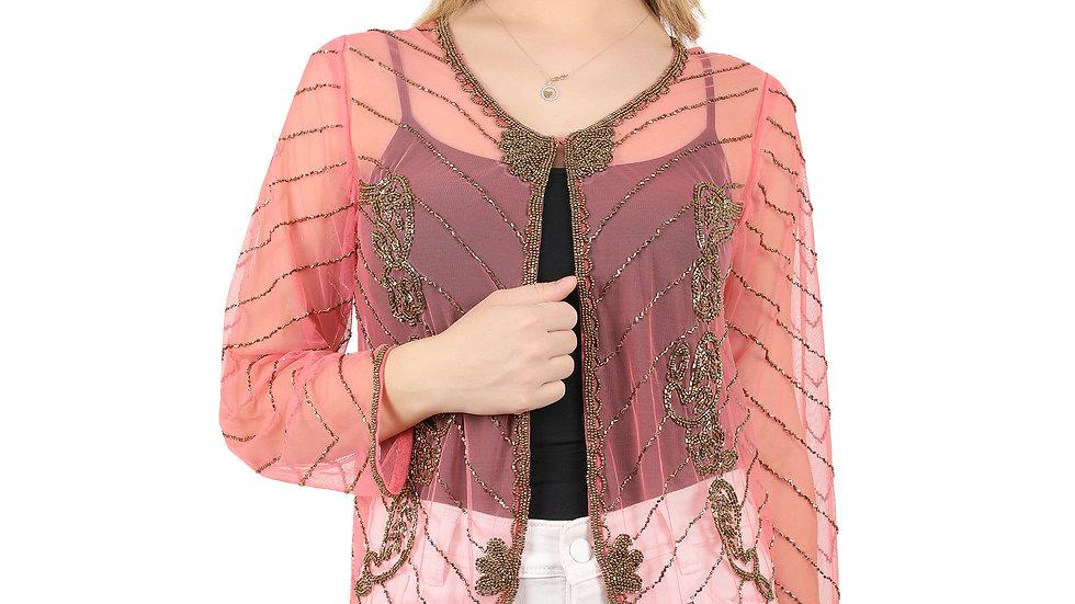 UNFAKENOW Women Jacket Style Full Sleeve Net Pink Shrug