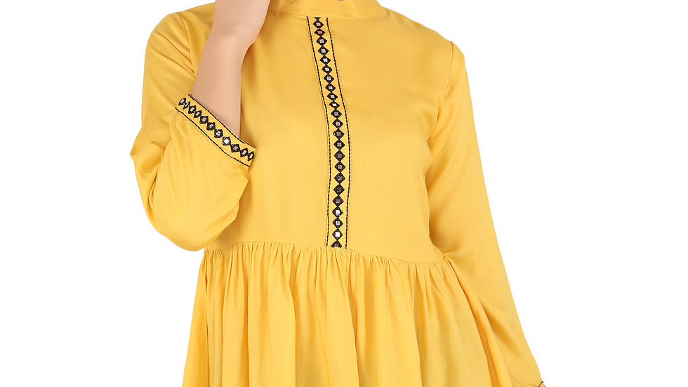 UNFAKENOW  Casual Cuffed Sleeve Solid Mirror Embroidered Women Mustard Rayon Top
