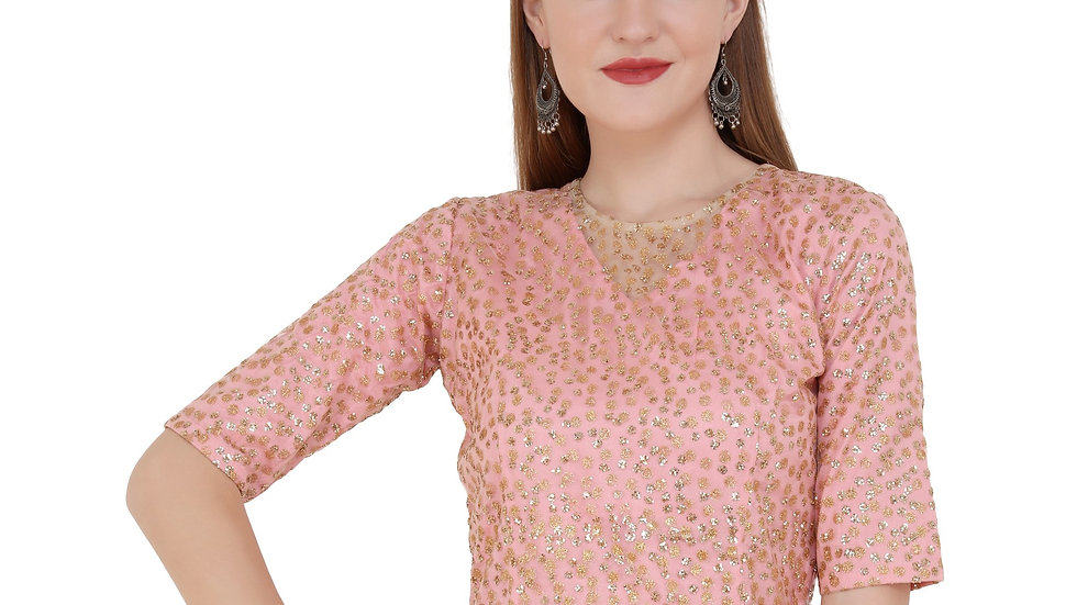 UNFAKENOW  Party Half Sleeve Embellished Women Pink Top