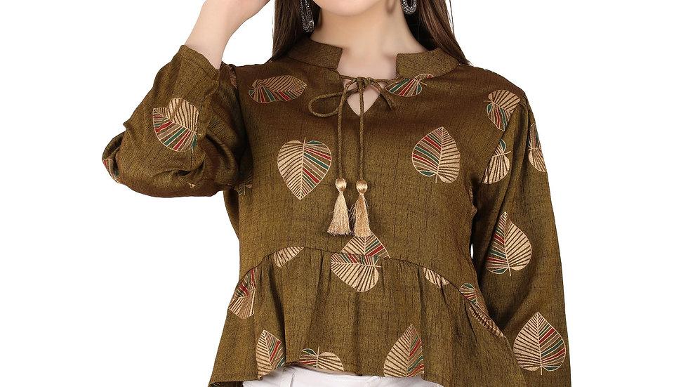 UNFAKENOW  Casual 3/4 Sleeve Printed Women Brown Top
