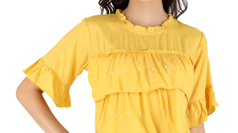 UNFAKENOW  Casual Flared Sleeve Pearl Studded Solid Women Yellow Maroon Top