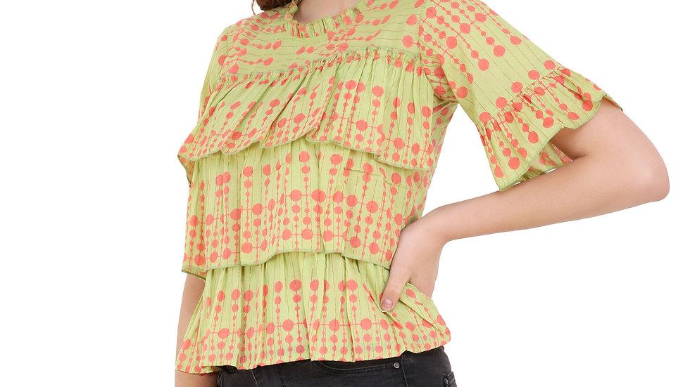 UNFAKENOW  Casual Bell Sleeve Printed Women Light Green Top