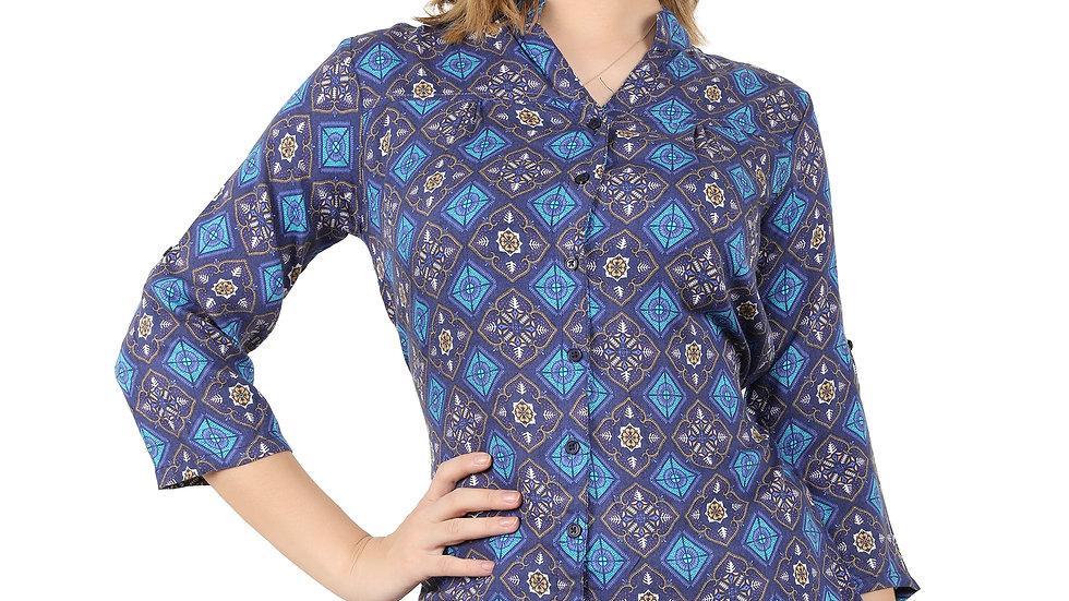 UNFAKENOW Casual Regular Sleeve Printed Women Dark Cotton Rayon Blend Top