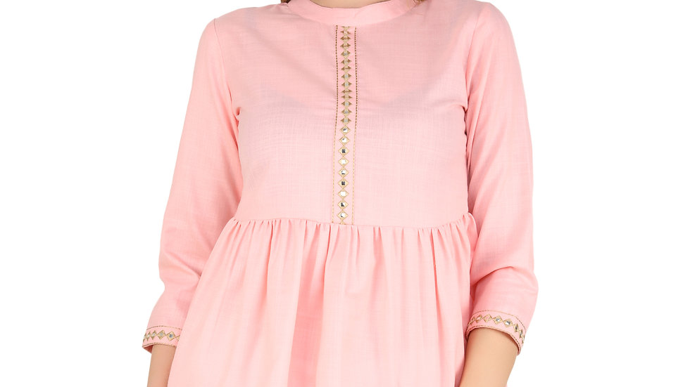UNFAKENOW  Casual 3/4 Sleeve Solid Women Pink Cotton Top