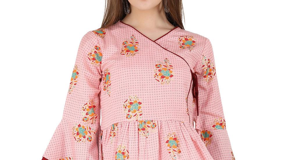 UNFAKENOW  Casual Bell Sleeve Floral Print Women Pink Top