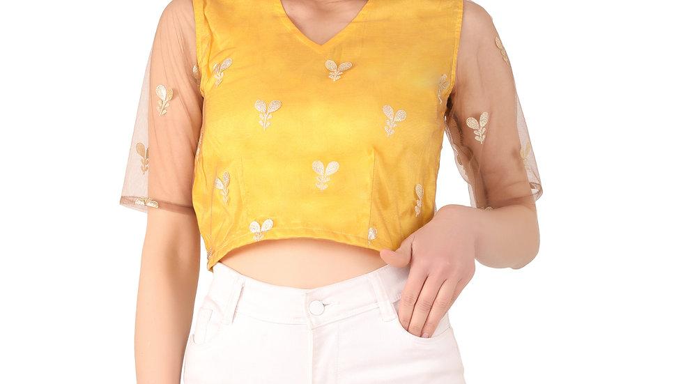 UNFAKENOW Party Regular Sleeve Floral Print Net Women Yellow Top