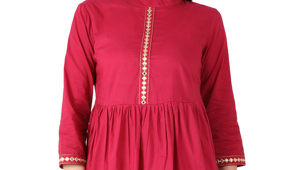 UNFAKENOW  Casual Regular Sleeve Mirror Embroidered Women Dark Pink Cotton Top
