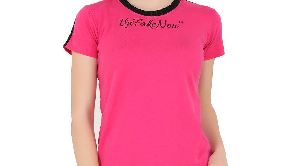 UNFAKENOW  Typography Women Round Neck Pink T-Shirt