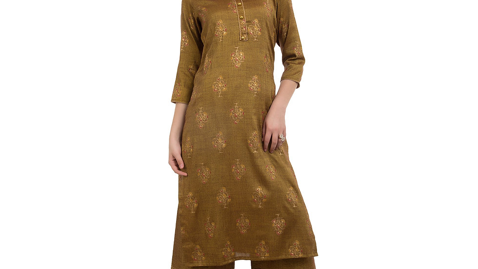 UNFAKENOW  Women Brown Kurta and Palazzo Set Cotton Blend