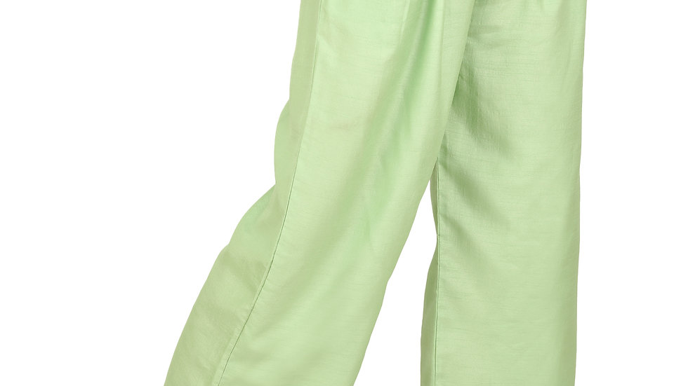 UNFAKENOW  Relaxed Women Solid Light Green Cotton Silk Trousers