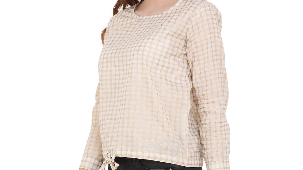 UNFAKENOW  Casual 3/4 Sleeve Checkered Women Gold Top