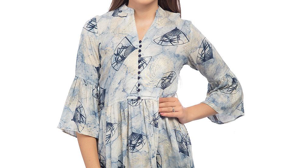 UNFAKENOW  Casual 3/4 Sleeve Printed Women Light Blue Top