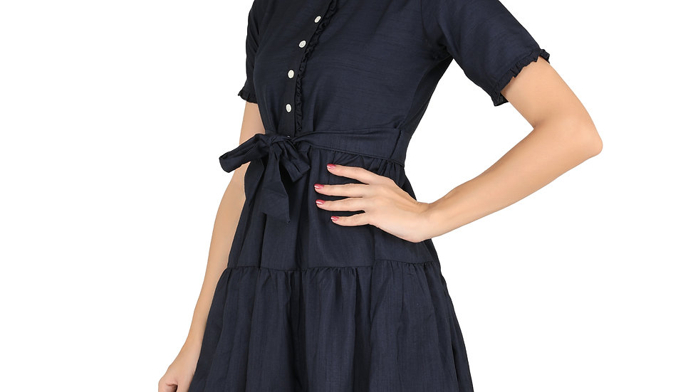 UNFAKENOW  Women Solid Peplum Dark Blue Cotton Silk Dress
