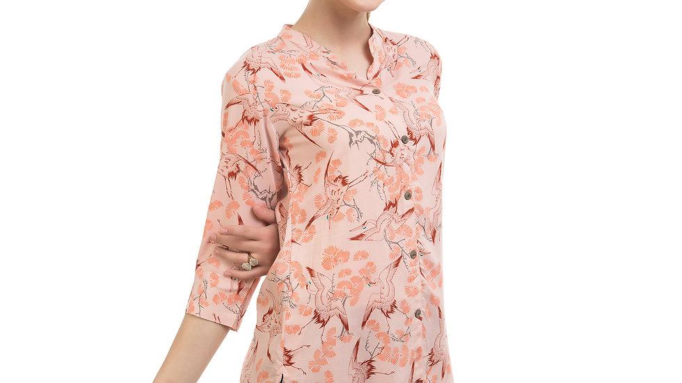 UNFAKENOW  Casual 3/4 Sleeve Printed Women Orange Top