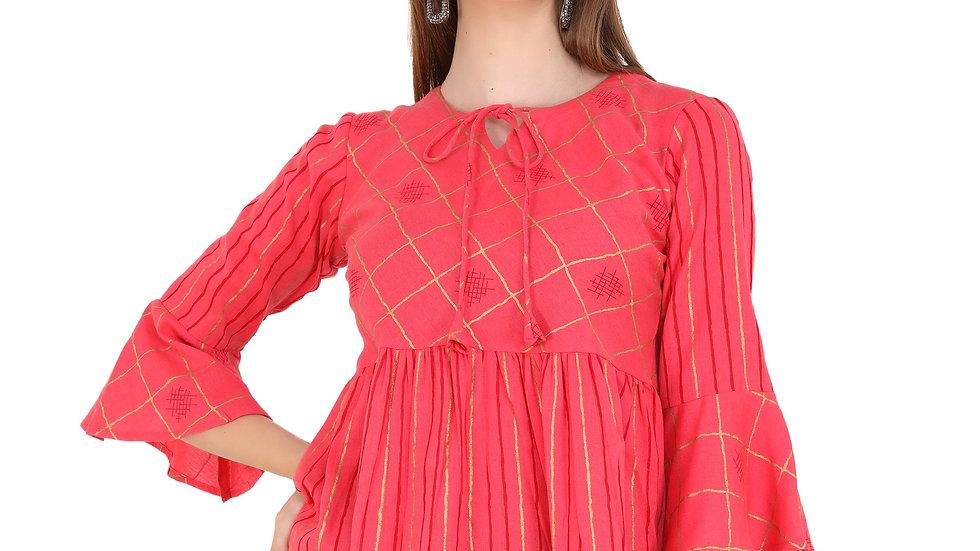 UNFAKENOW  Casual Bell Sleeve Printed Women Red Top