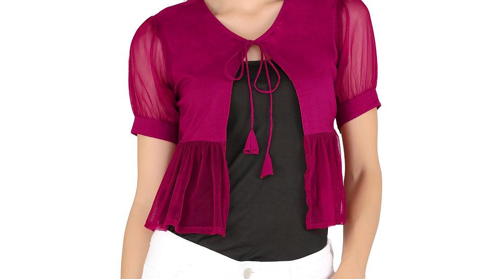 UNFAKENOW  Women Jacket Style Half Sleeve Solid Maroon Cotton Net Shrug