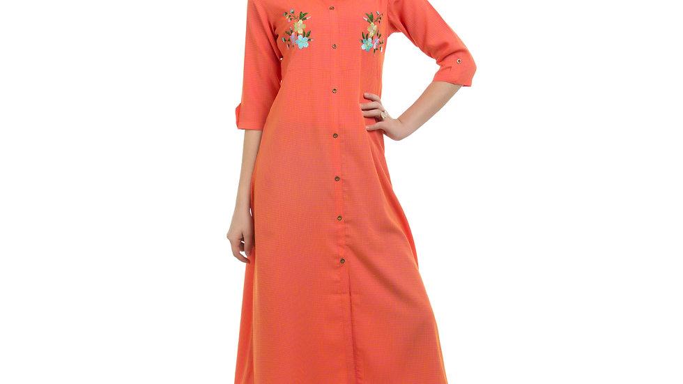 UNFAKENOW  Women Embroidered Cotton Blend Straight Orange Kurta