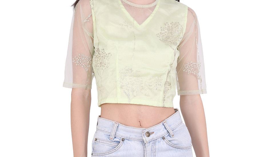 UNFAKENOW  Party Regular Sleeves Floral Printed Women Light Green Top