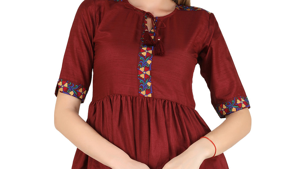 UNFAKENOW  Casual Cuffed Sleeve Floral Embroidered Women Maroon Top
