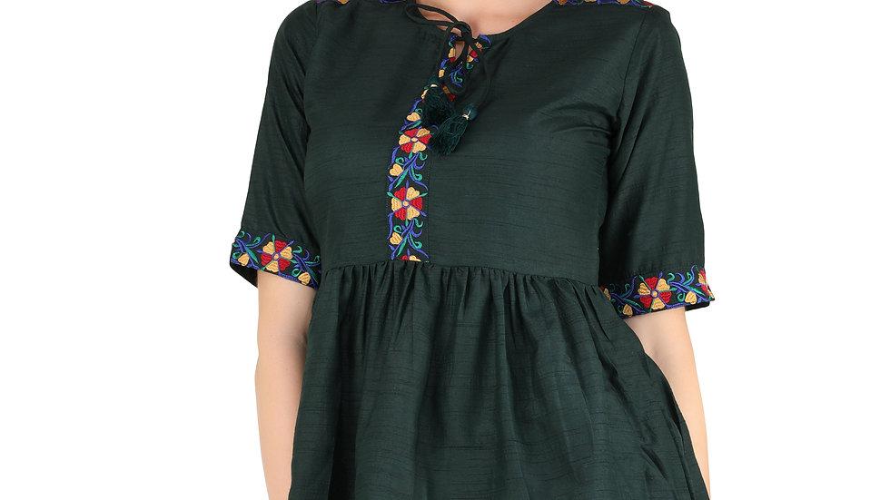 UNFAKENOW  Casual Half Sleeve Floral Embroidered Women Dark Green Cotton Top