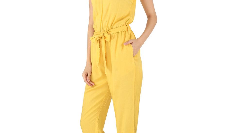 UNFAKENOW  Solid Women Mustard Rayon Jumpsuit