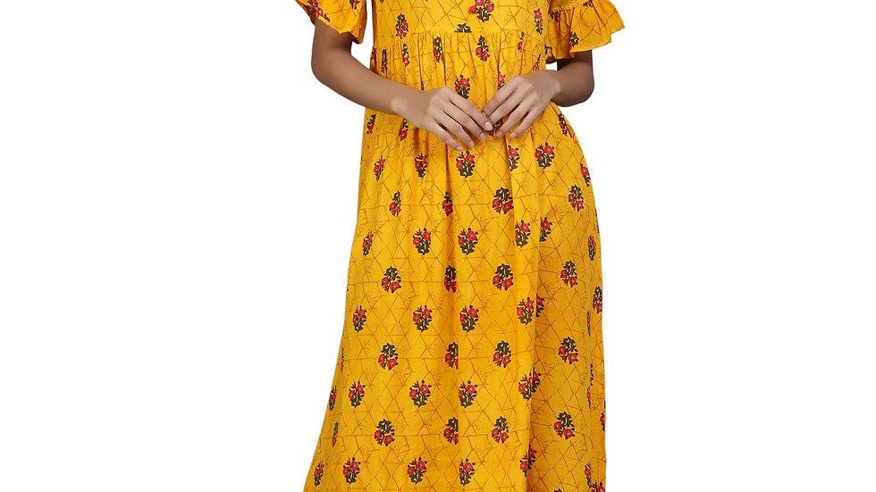 UNFAKENOW  Women Floral Print Rayon Flared Kurta  (Yellow)