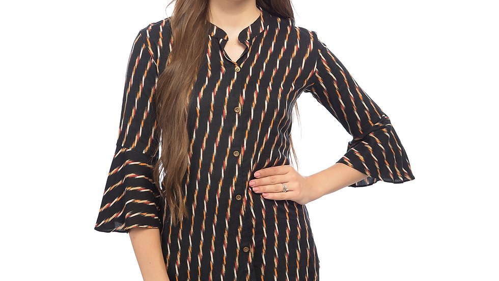 UNFAKENOW  Casual 3/4 Sleeve Striped Women Black Top