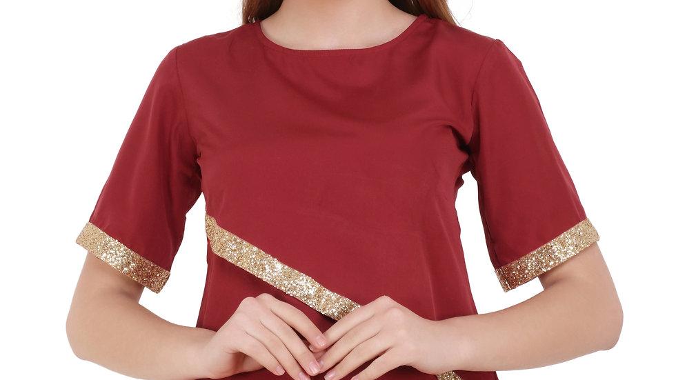 UNFAKENOW  Casual Half Sleeve Embellished Women Maroon Top