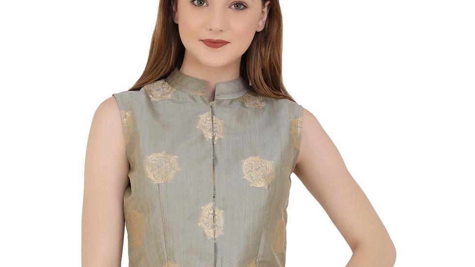 UNFAKENOW  Party Sleeveless Floral Print Women Grey Top