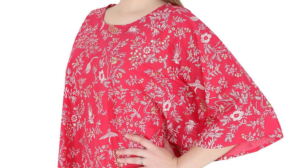 UNFAKENOW  Casual Kaftan Sleeve Floral Print Women Red Top