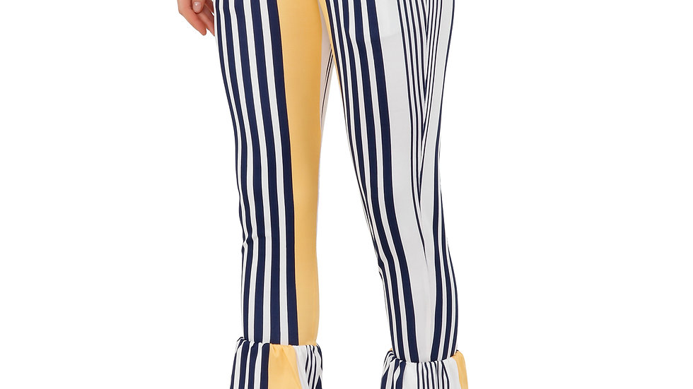 UNFAKENOW Fitted Women Striped MultiColored Cotton Lycra Blend Trouser