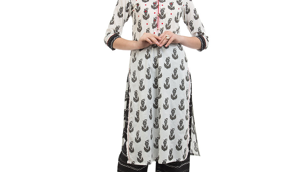 UNFAKENOW  Women White Kurta and Palazzo Set Cotton Blend
