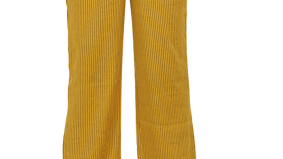 UNFAKENOW  Relaxed Women Yellow Cotton Rayon Blend Trousers