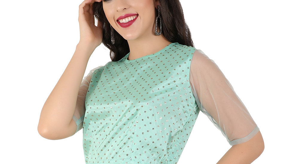 Unfakenow Party Half Sleeve Embellished Women Light Green Top