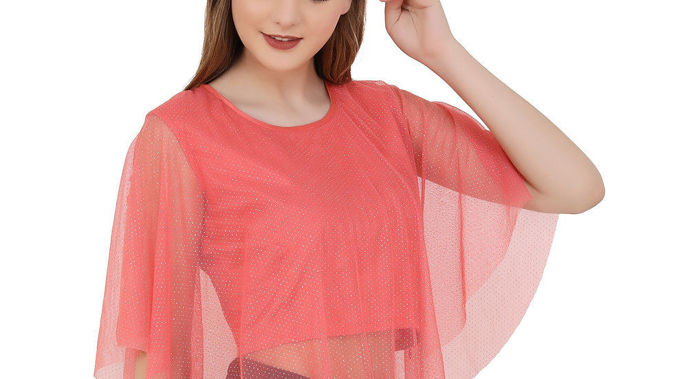 UNFAKENOW  Casual 3/4 Sleeve Embellished Women Red Top