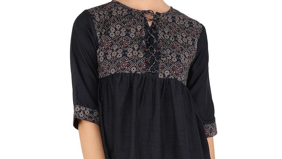 UNFAKENOW  Casual Cuffed Sleeve Floral Print Women Dark Blue Cotton Top
