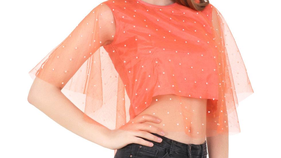 UNFAKENOW  Party Kaftan Sleeve Embellished Women Orange Top