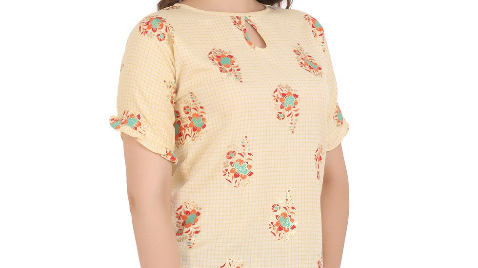 UNFAKENOW  Casual Short Sleeve Floral Print Women Yellow Top