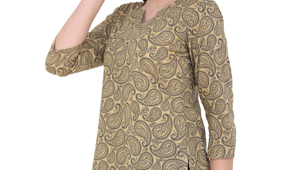 UNFAKENOW  Formal 3/4 Sleeve Floral Print Women Beige Top