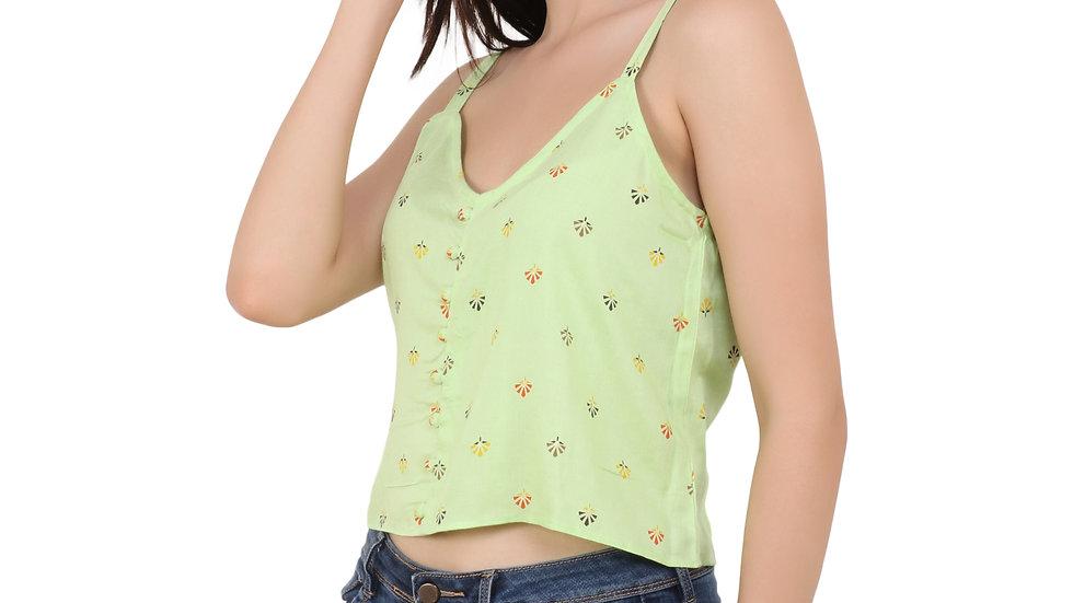 UNFAKENOW  Casual No Sleeve Self Design Women Light Green Top