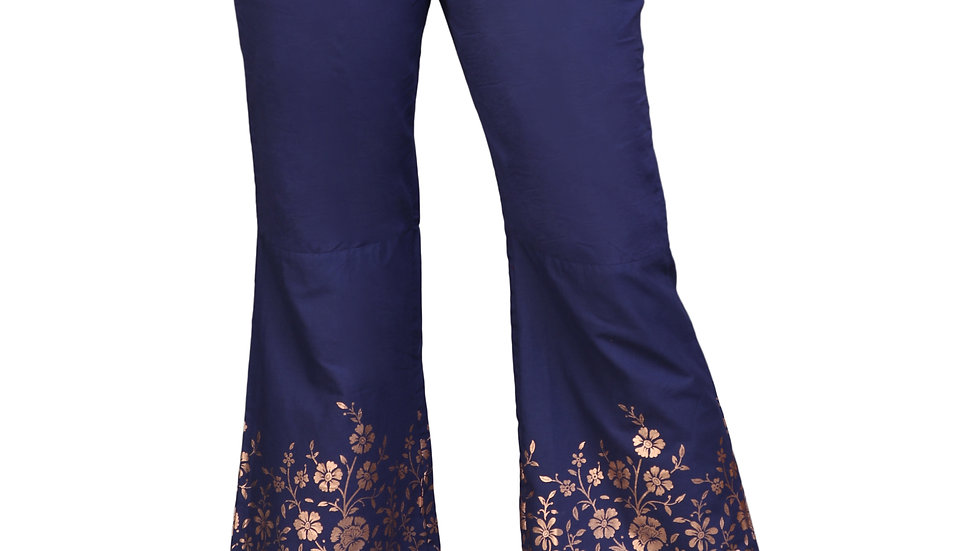 UNFAKENOW  Relaxed Women Blue Cotton Gold Foil Printed Trousers