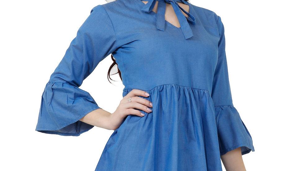 UNFAKENOW  Casual Bell Sleeve Solid Women  Blue Denim Cotton Top