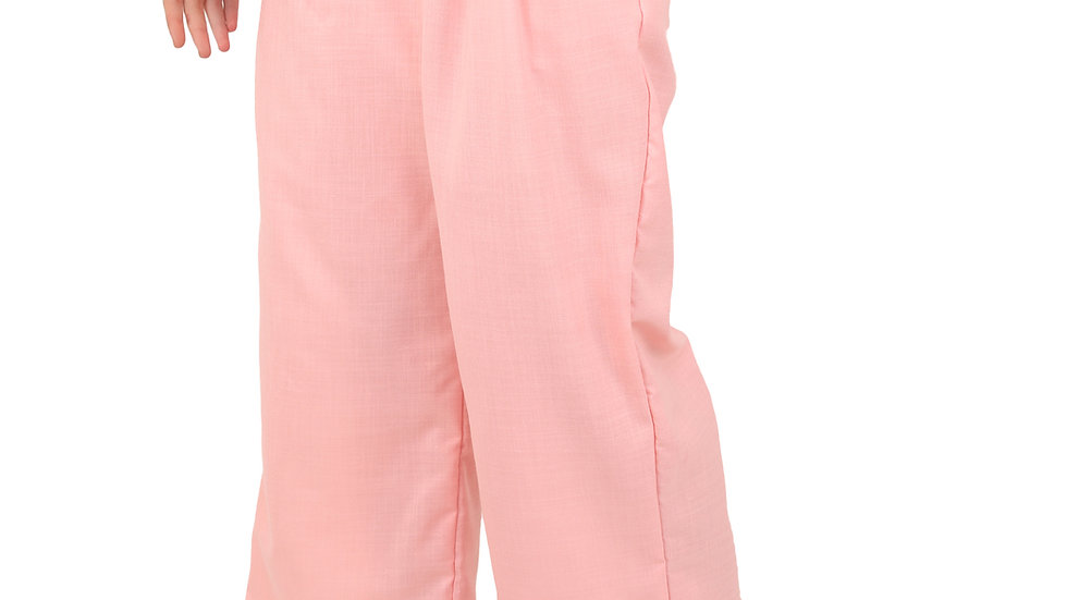 UNFAKENOW  Relaxed Women Solid Pink Cotton Silk Trousers