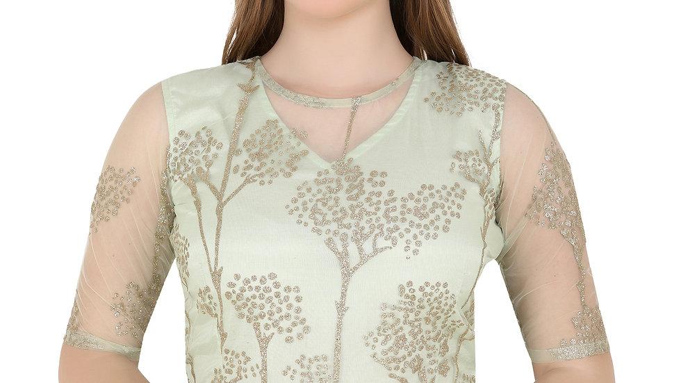 UNFAKENOW  Party Half Sleeve Embellished Women Green Top