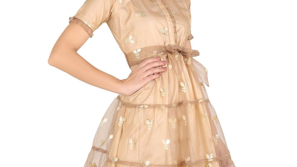 UNFAKENOW  Women Floral Printed Net Peplum Beige Dress