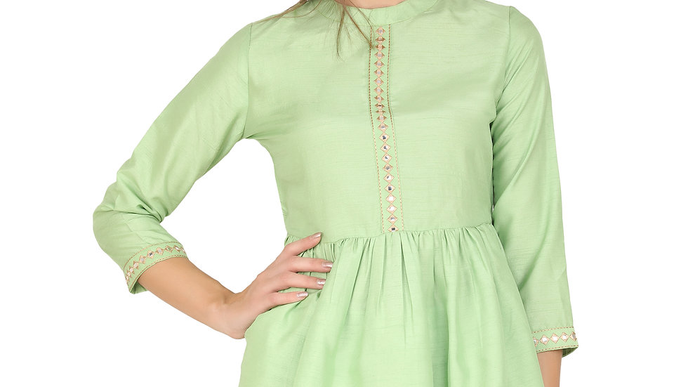 UNFAKENOW Mirror Embroidered Casual 3/4 Sleeve Solid Women Light Green Top
