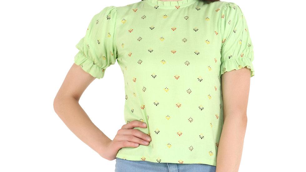 UNFAKENOW  Casual Puff Sleeve Printed Women Light Green Top