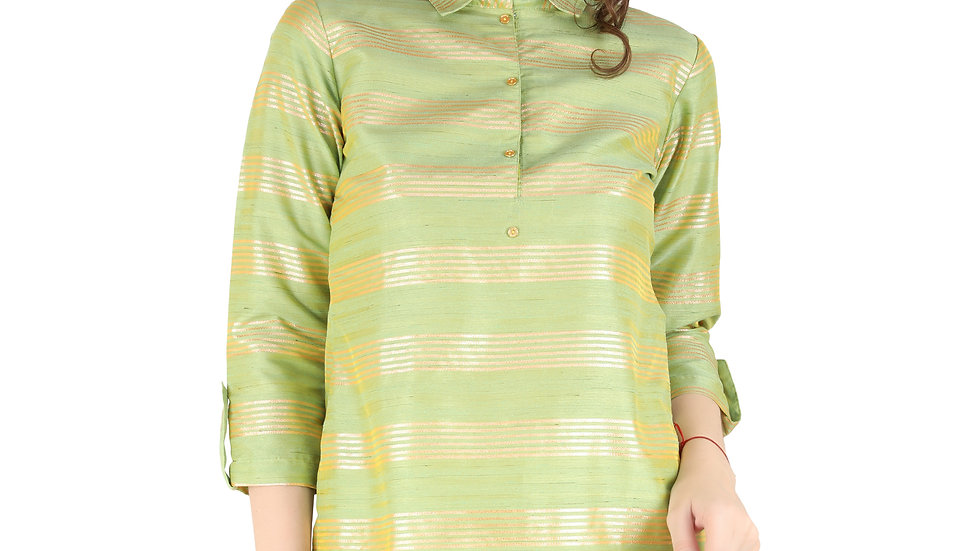 UNFAKENOW  Casual Roll-up Sleeve Printed Women Green Top